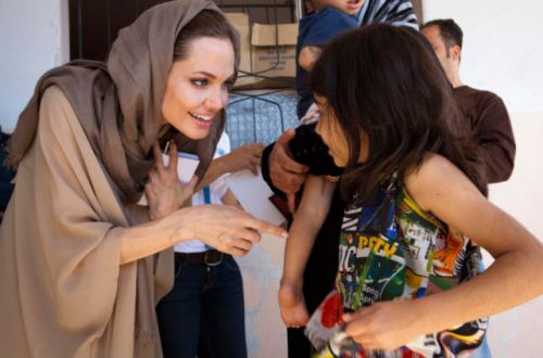 Angelina Jolie as she met with Syrian refugee kids - 2012