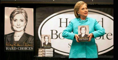 Hillary Clinton as she promotes her new book (photo via politico.com)