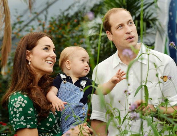 The Duke and Duchess of Cambridge with Prince George during a visit to the Butterflies exhibition at the Natural History Museum in London
