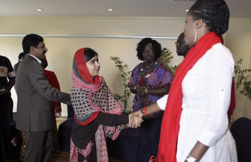 Pakistani schoolgirl activist Malala Yousafzai as she met with the leaders of the #BringBackOurGirls Abuja campaign group in Abuja, July 13, 2014 (photo credit: Reuters)
