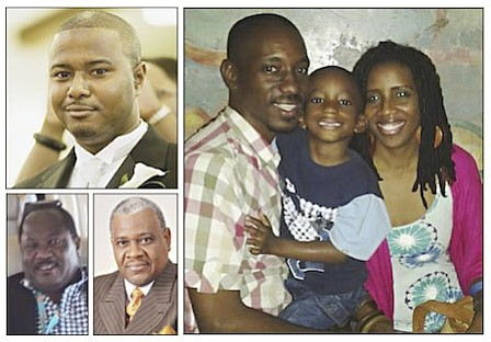 Bahamians killed in plane crash - co-pilot Franhkan Cooper (top left), pilot Stanley Thurston (bottom left),  Dr. Richard Pinder, Lavard and Radel Parks and their son, 5 year old Johanan. The identity of the ninth victim from Africa, has not been released. (photo: via Tribune)