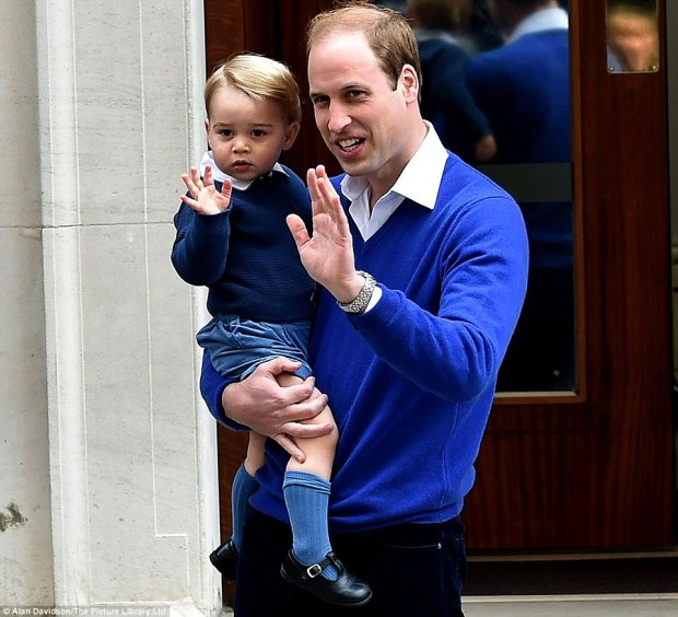 Prince William giving a shy wave as he arrived at Lindo Wing with his dad Prince William after the birth of his little sister