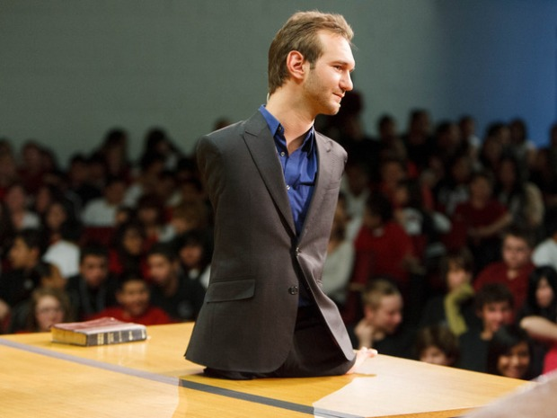 Motivational speaker Nick Vujicic speaks to students at Bryant Middle School and beyond about the dangers of bullying. The assembly was simulcast and streamed to some schools across Utah Thursday March 7, 2013 in Salt Lake City