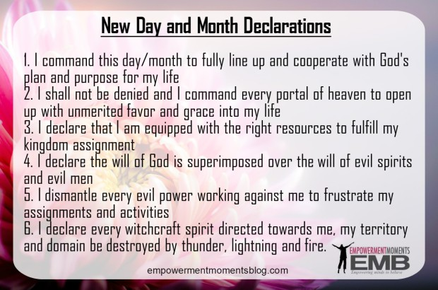 New Day and Month Declarations for My Life