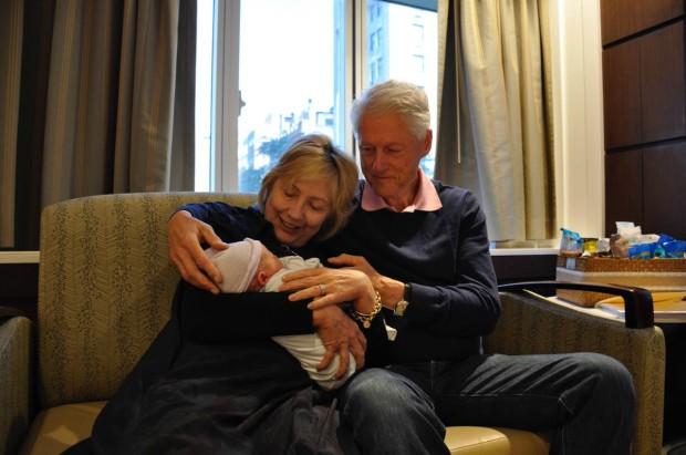 Hillary and Bill Clinton with newborn grandson, Aidan Clinton Mizvensky